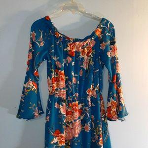 Xhiliration Blue Brown Floral High  Low Dress Sz S
